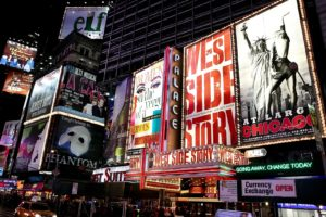 Broadway Theater Billboards In Times Square