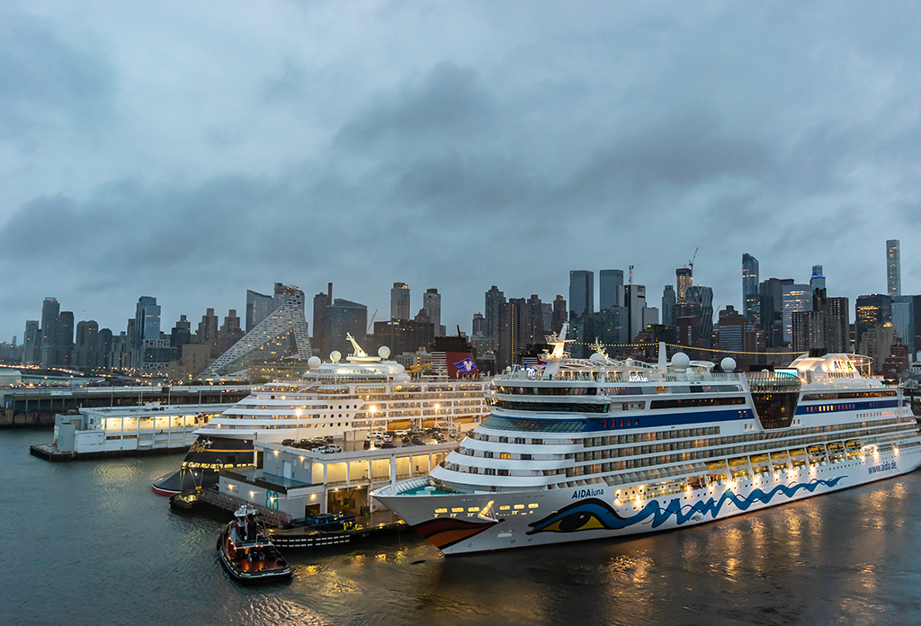 Cruise Ships Docked At The Manhattan Cruise Terminal In Midtown West
