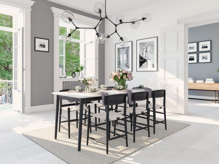 Modern Nordic Dining Room In Loft Apartment. 3d Rendering