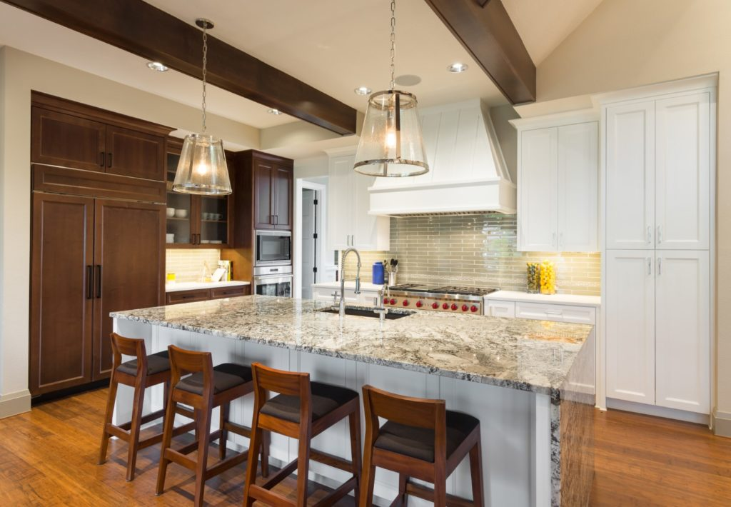 Large Kitchen In Luxury Home With Island