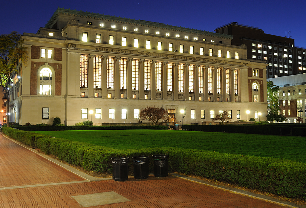 Butler Library Of Columbia University At Night