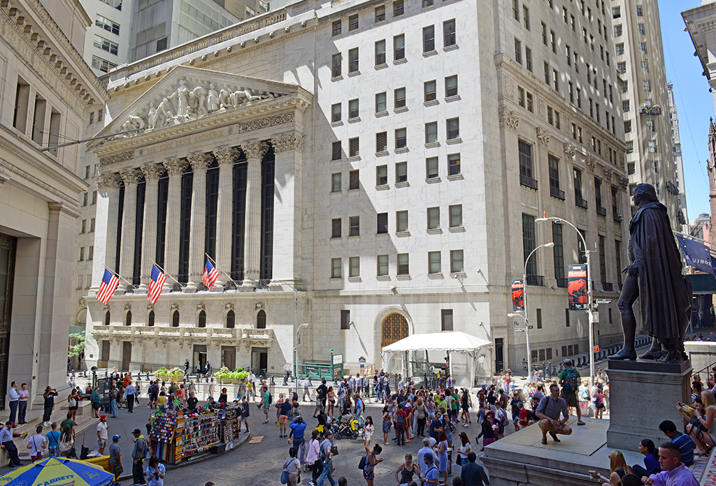 Tourists At The New York Stock Exchange In The Financial District