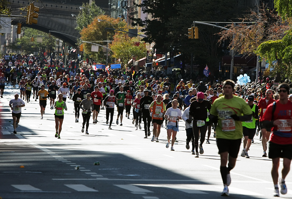 Nyc Marathon Runners Just Passing The 59th Street Bridge On The Upper East Side