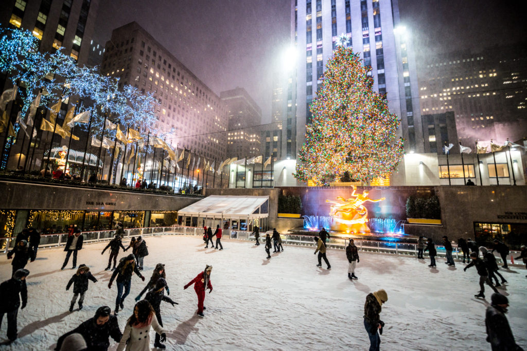 People Ice Skating At Rockefeller Center, Nyc
